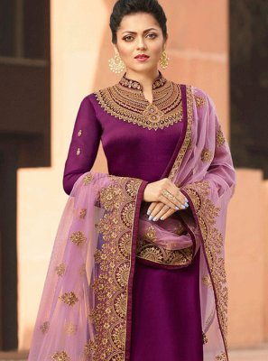 Embroidered Sangeet Churidar Suit
