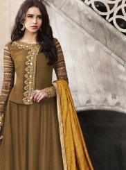 Embroidered Satin Anarkali Suit