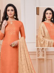 Embroidered Satin Churidar Designer Suit