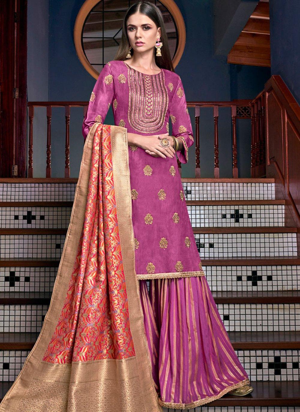 Embroidered Satin Designer Palazzo Suit