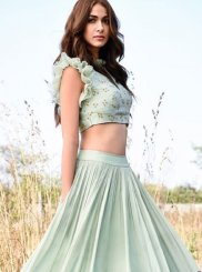 Embroidered Satin Lehenga Choli in Blue