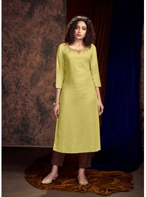 Embroidered Satin Readymade Salwar Kameez