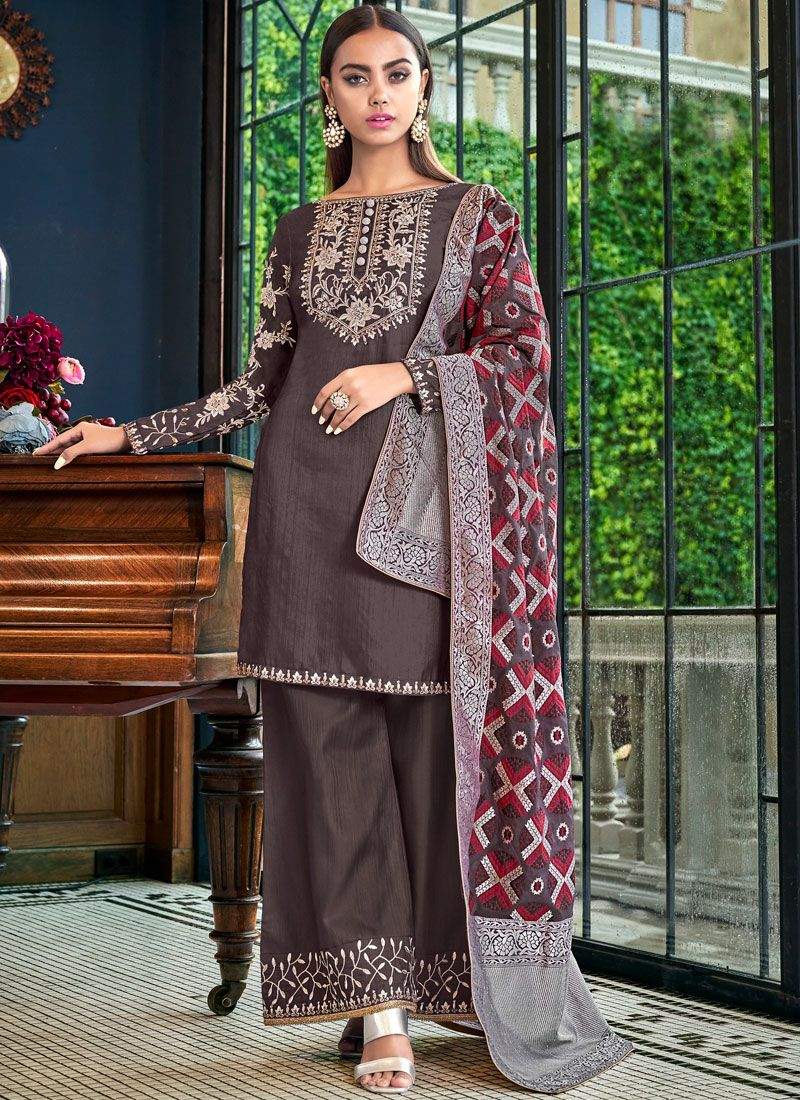 Embroidered Satin Silk Brown Palazzo Designer Salwar Suit