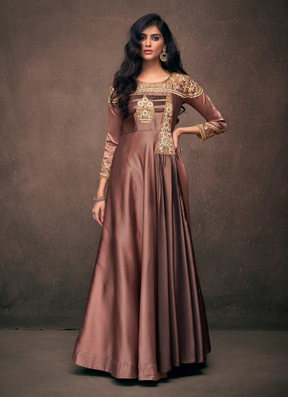 Embroidered Satin Silk Brown Readymade Designer Gown
