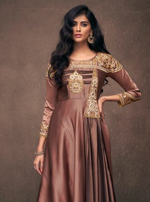 Embroidered Satin Silk Brown Readymade Designer Gown