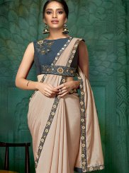 Embroidered Satin Silk Classic Designer Saree in Pink