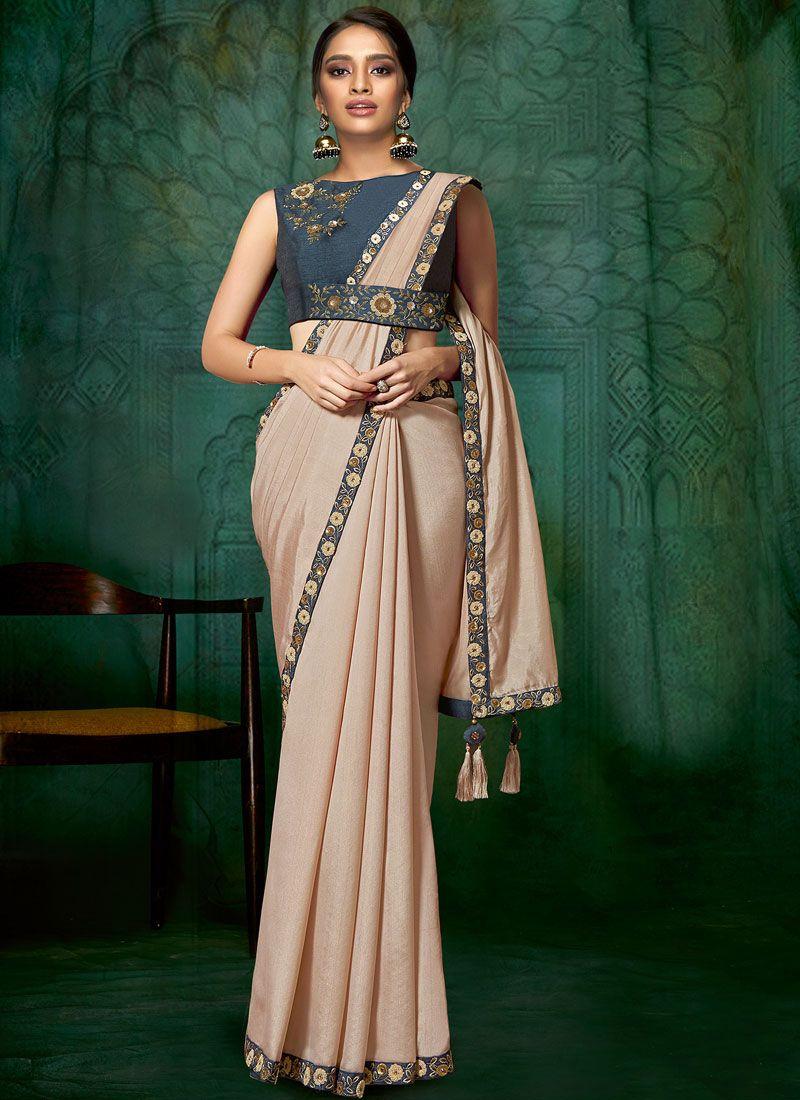 Embroidered Satin Silk Classic Designer Saree in Pink