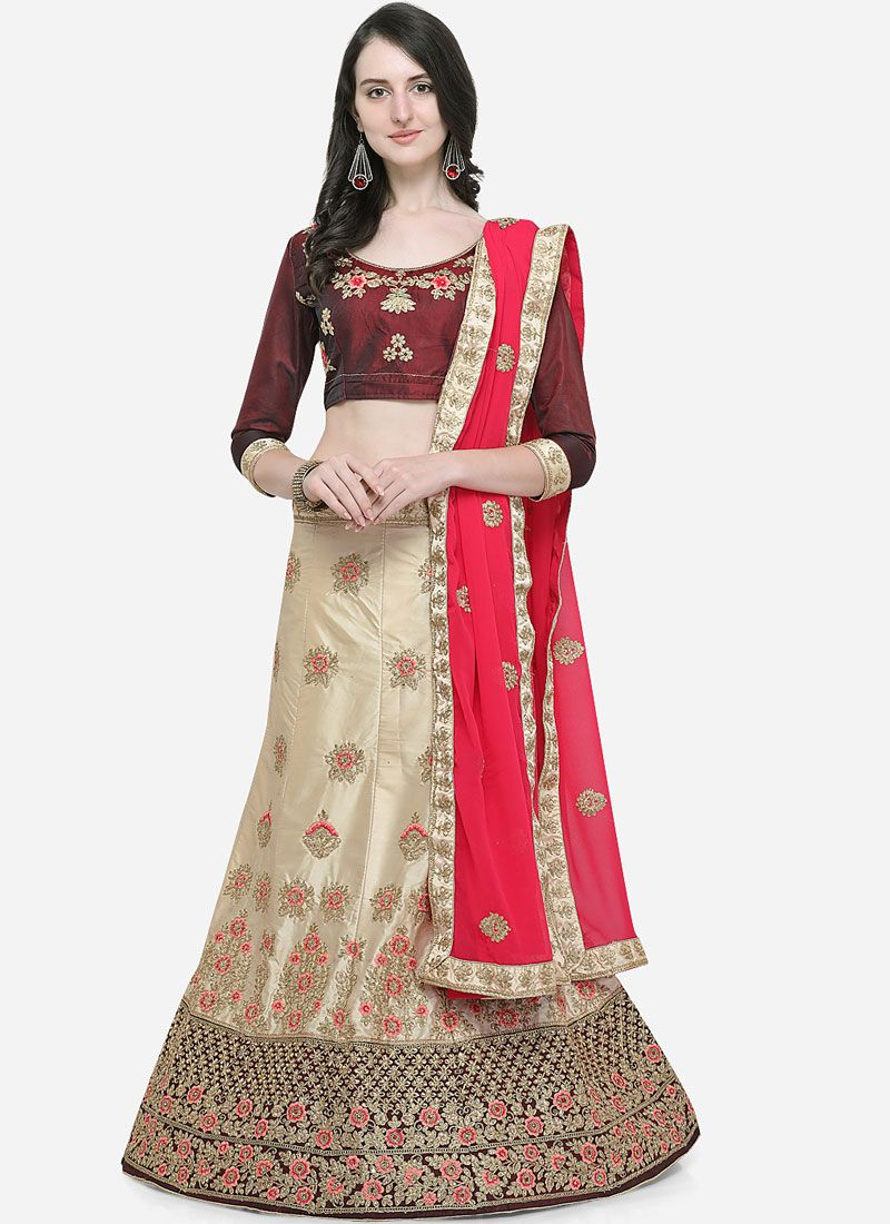 Embroidered Satin Silk Designer Lehenga Choli