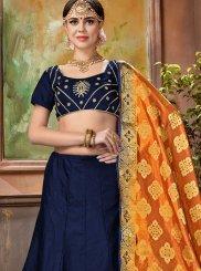 Embroidered Satin Silk Navy Blue Designer Lehenga Choli