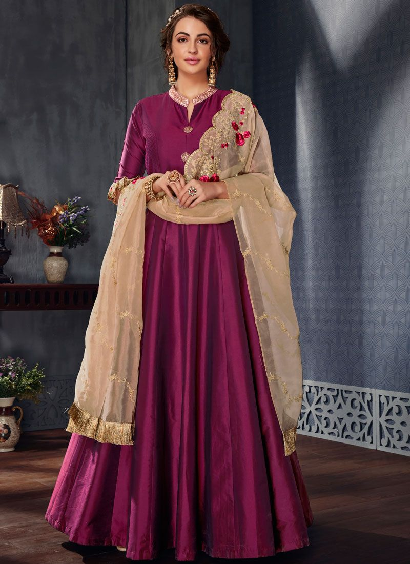 Embroidered Satin Silk Readymade Gown  in Purple
