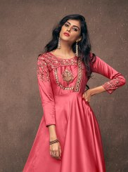Embroidered Satin Silk Readymade Gown in Rose Pink