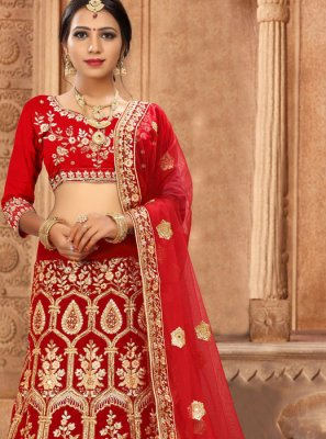 Embroidered Satin Silk Red Lehenga Choli