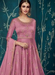 Embroidered Satin Silk Trendy Anarkali Salwar Suit in Pink