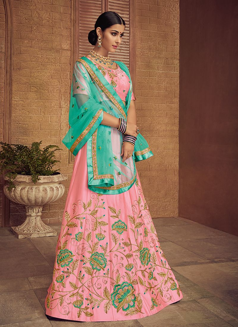 Embroidered Satin Silk Trendy Lehenga Choli