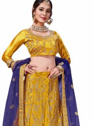 Embroidered Satin Silk Trendy Lehenga Choli in Gold and Yellow