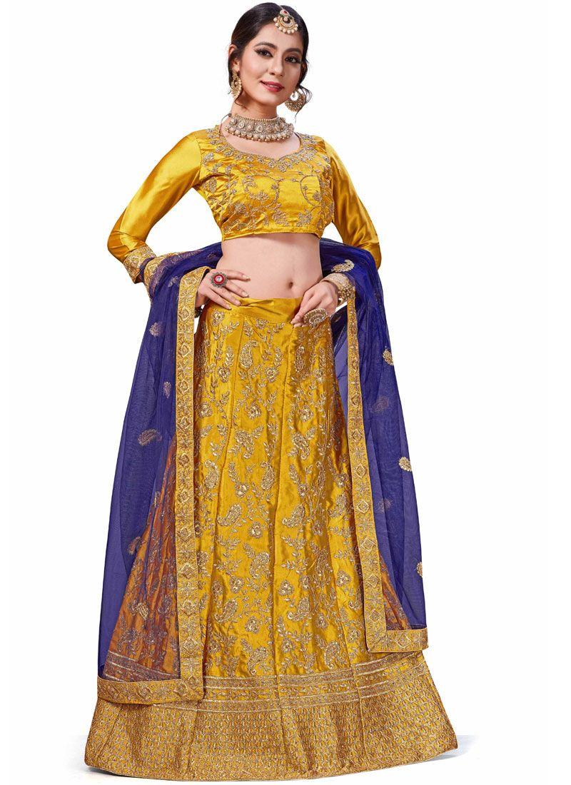Embroidered Satin Silk Trendy Lehenga Choli in Gold and Yellow