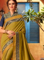 Embroidered Sea Green Cotton Silk Classic Designer Saree