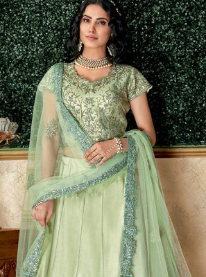Embroidered Sea Green Lehenga Choli