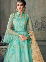 Embroidered Sea Green Net Designer Lehenga Choli