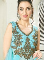Embroidered Sea Green Readymade Gown