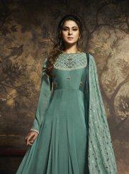 Embroidered Sea Green Silk Anarkali Salwar Suit
