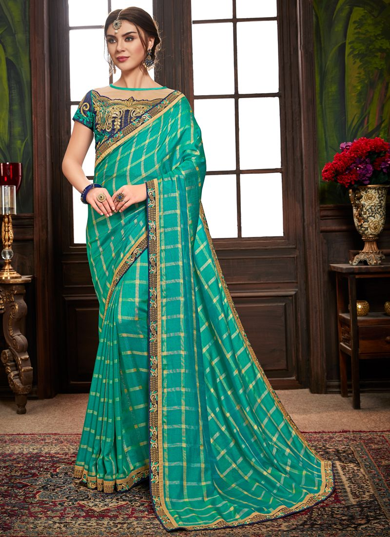 Embroidered Sea Green Traditional Designer Saree