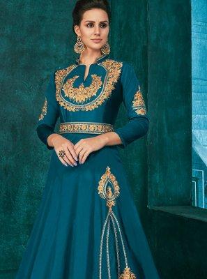 Embroidered Silk Anarkali Salwar Kameez in Blue