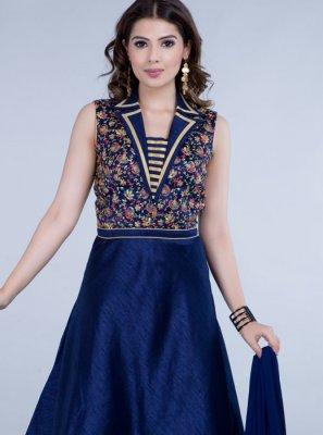 Embroidered Silk Anarkali Suit