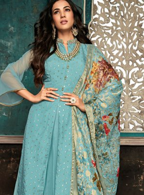 Embroidered Silk Aqua Blue Designer Salwar Suit