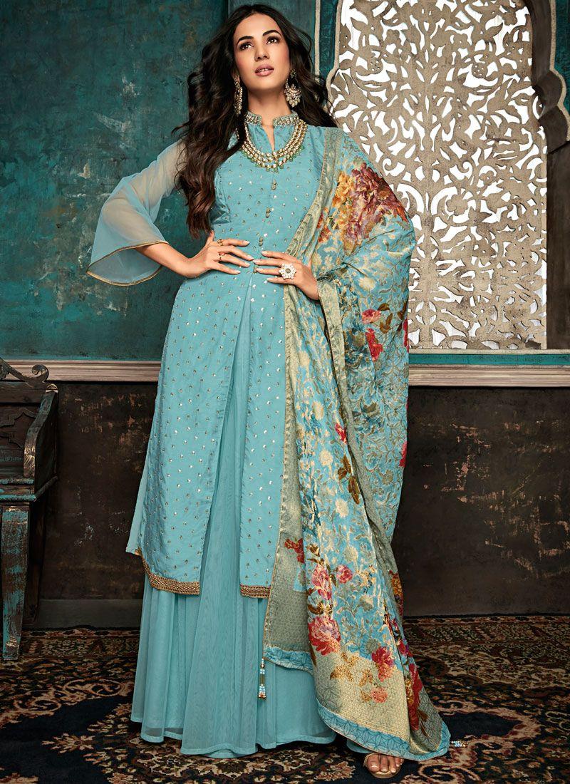 Embroidered Silk Aqua Blue Designer Salwar Suit