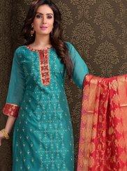 Embroidered Silk Churidar Salwar Kameez in Teal