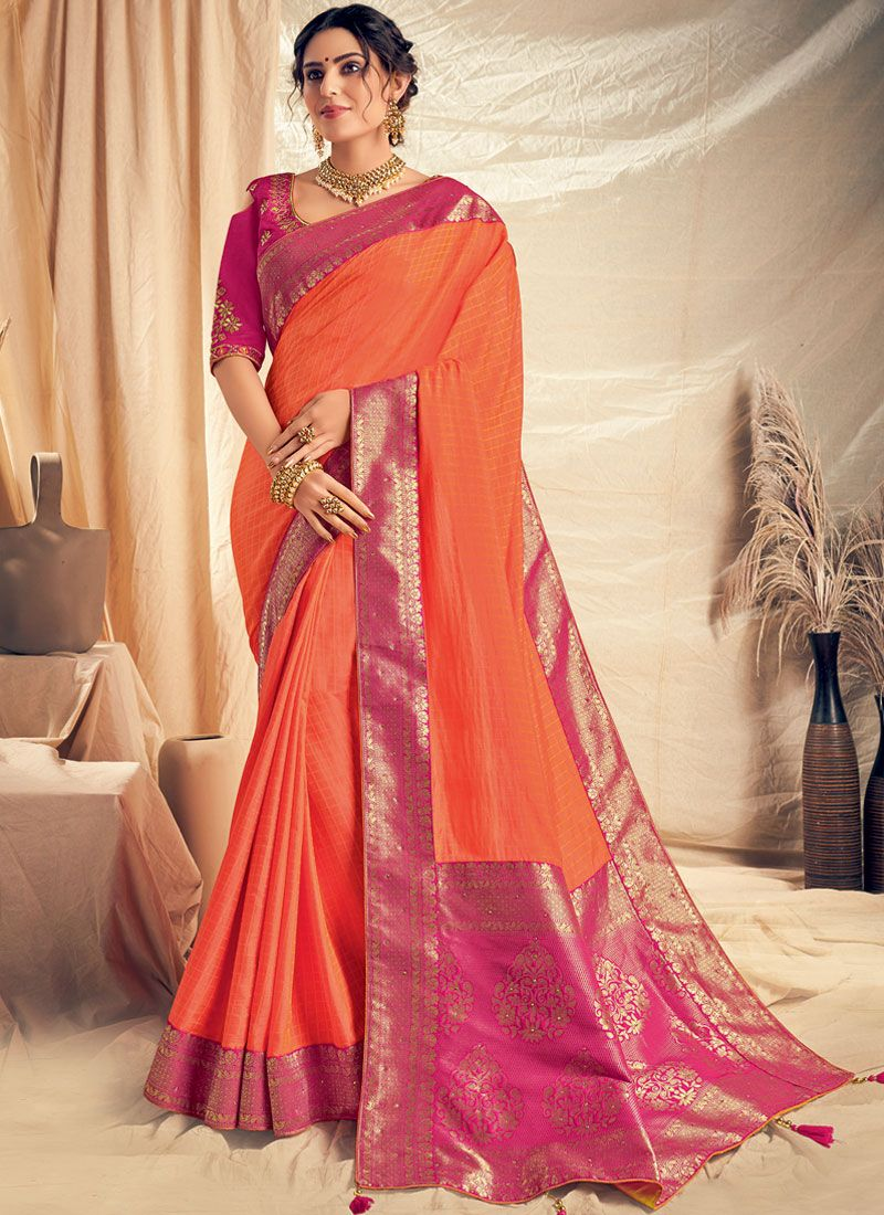 Embroidered Silk Classic Saree in Orange