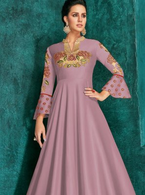 Embroidered Silk Designer Gown in Lavender