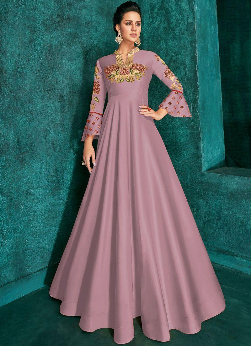 Embroidered Silk Designer Gown in Lavender
