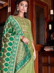 Embroidered Silk Designer Palazzo Salwar Kameez in Green