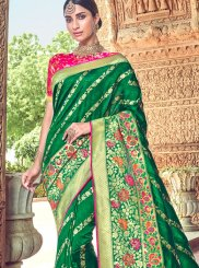 Embroidered Silk Green Classic Designer Saree