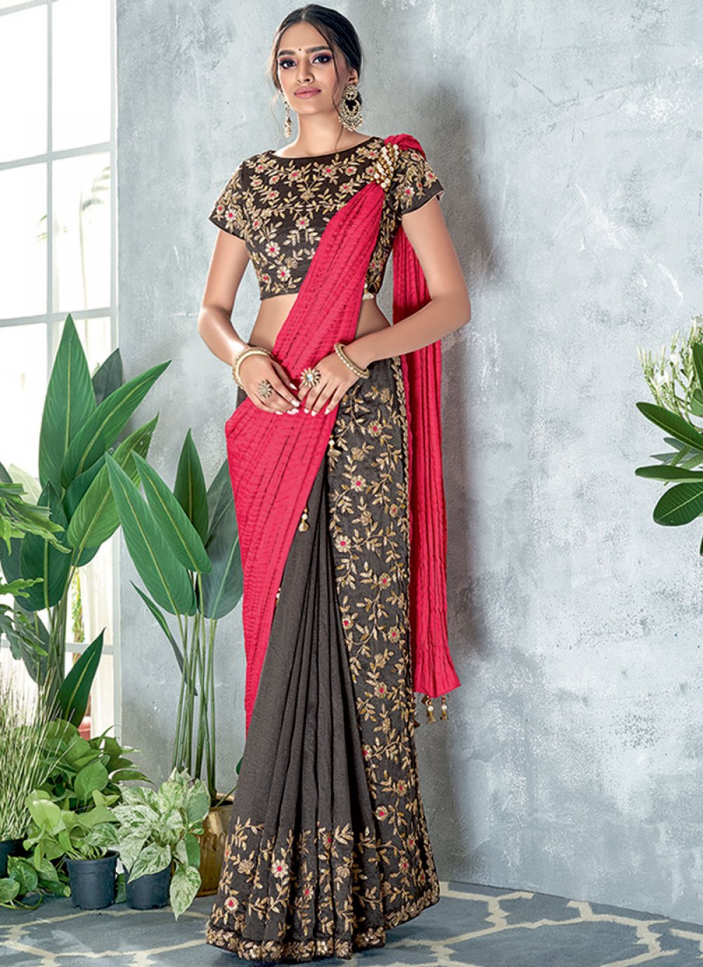 Embroidered Silk Grey and Pink Classic Designer Saree