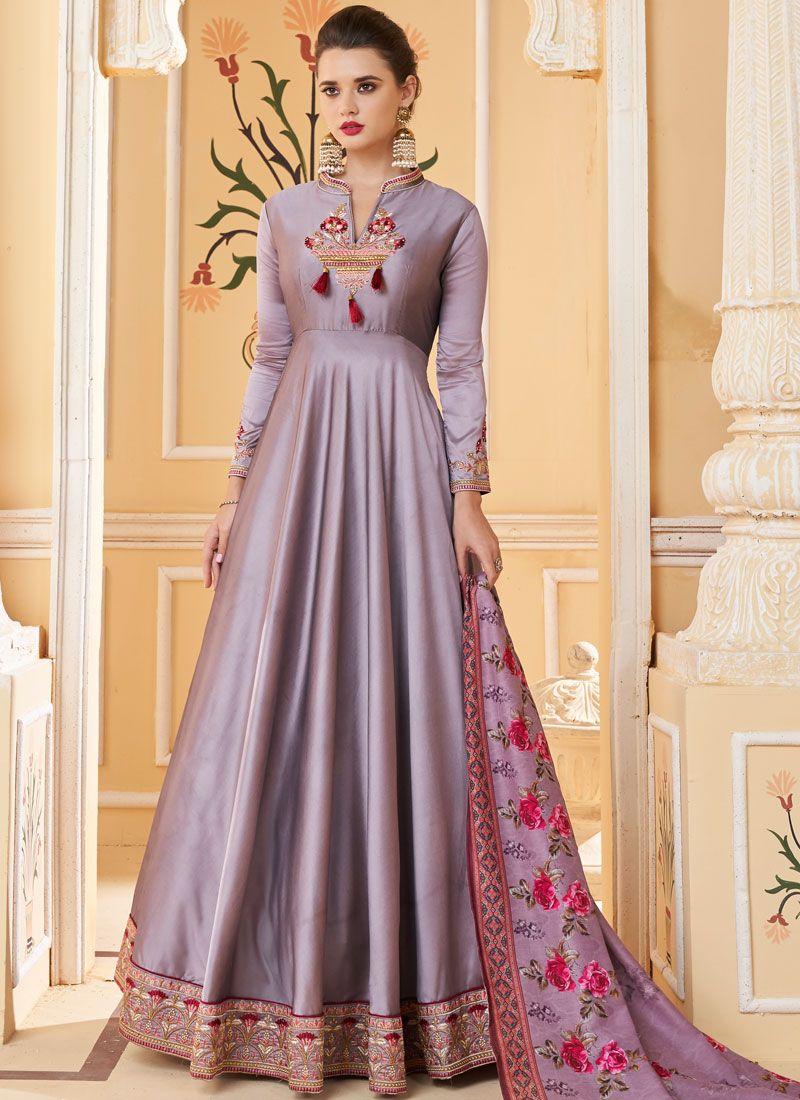 Embroidered Silk Grey Trendy Gown