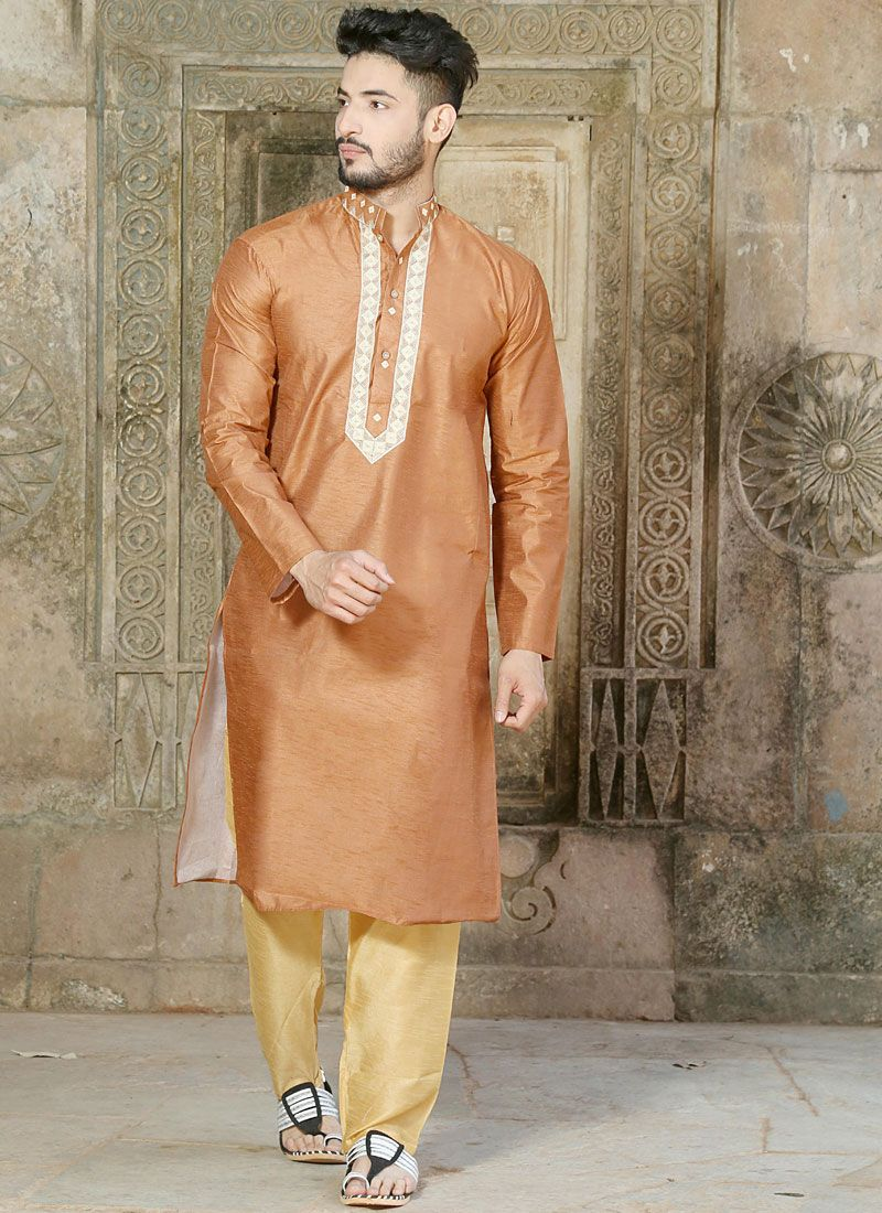 Embroidered Silk Kurta Pyjama in Brown