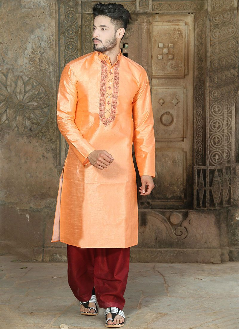 Embroidered Silk Kurta Pyjama in Orange