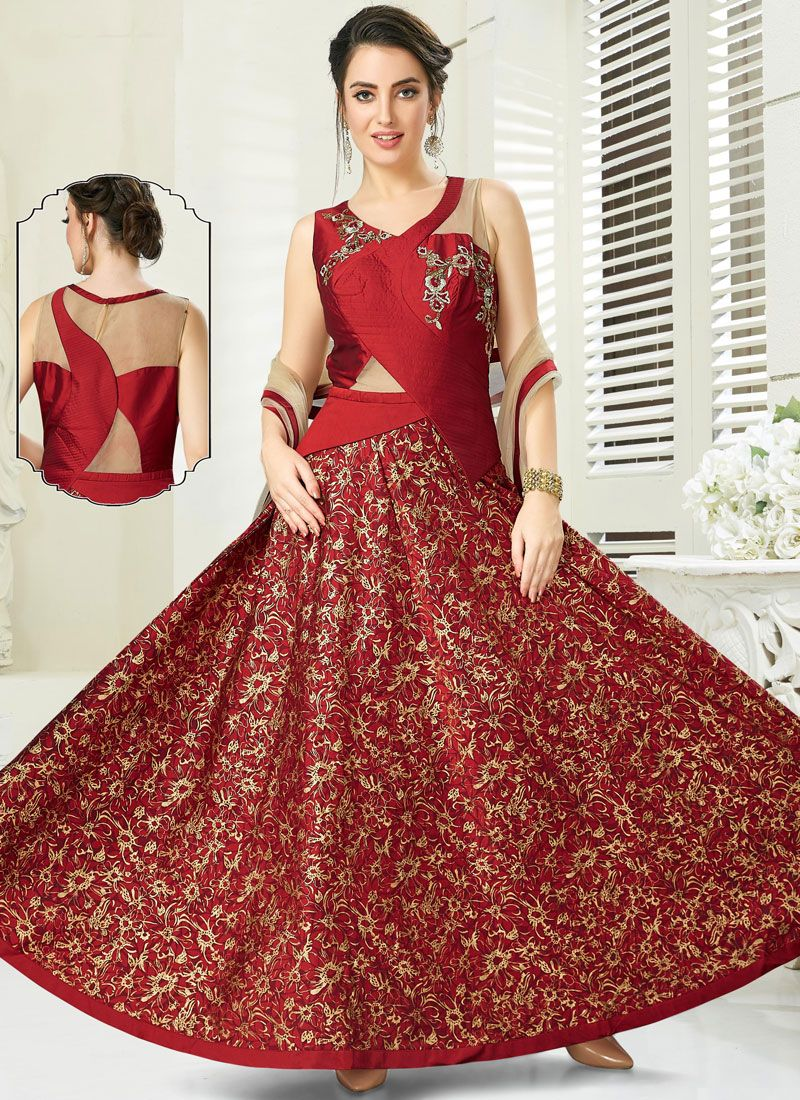 Embroidered Silk Maroon Anarkali Salwar Kameez