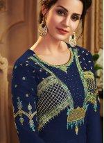 Embroidered Silk Navy Blue Trendy A Line Lehenga Choli