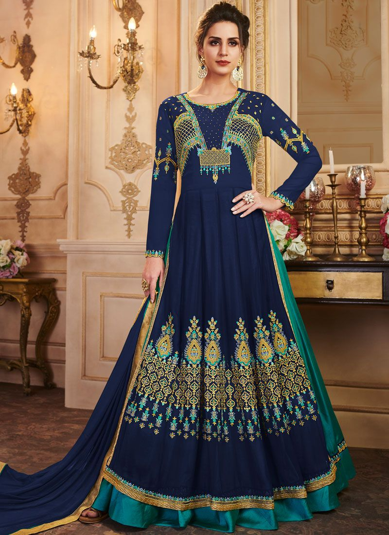 Embroidered Silk Navy Blue Trendy A Line Lehenga Choli