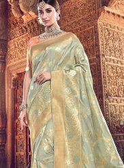 Embroidered Silk Sea Green Classic Saree