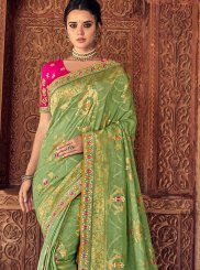 Embroidered Silk Sea Green Silk Saree