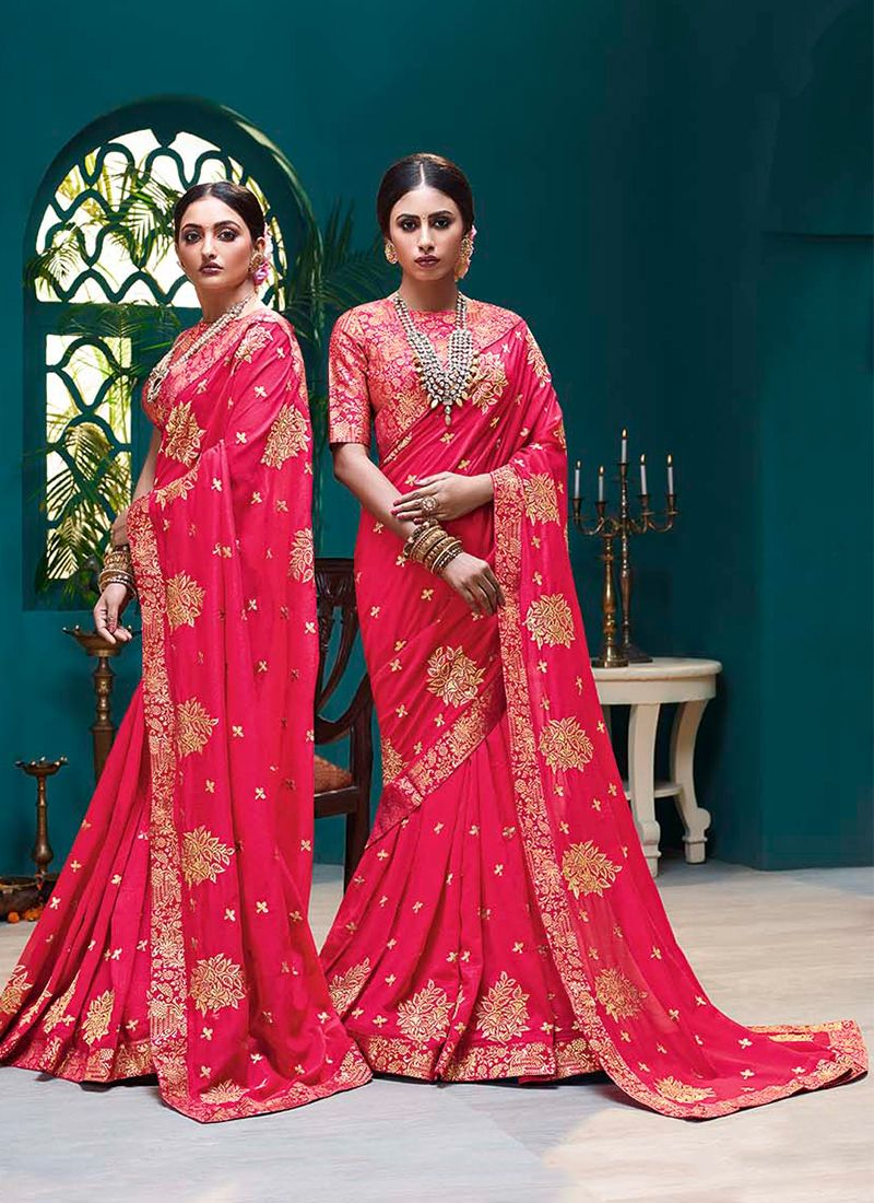 Embroidered Silk Traditional Saree in Pink