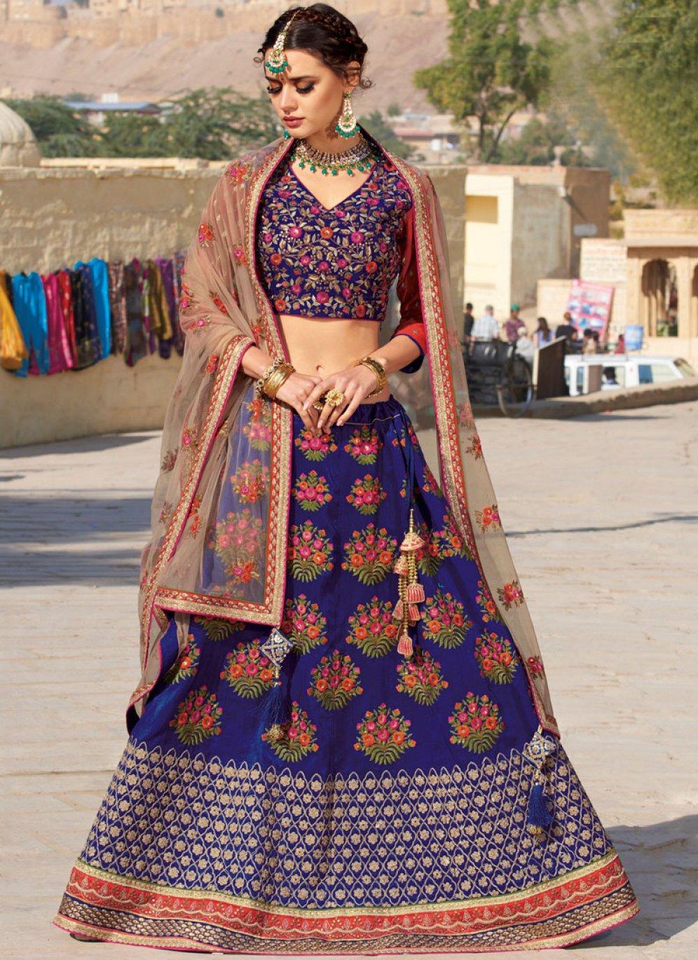 Embroidered Silk Trendy A Line Lehenga Choli