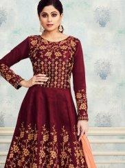 Embroidered Silk Trendy Anarkali Salwar Kameez in Maroon