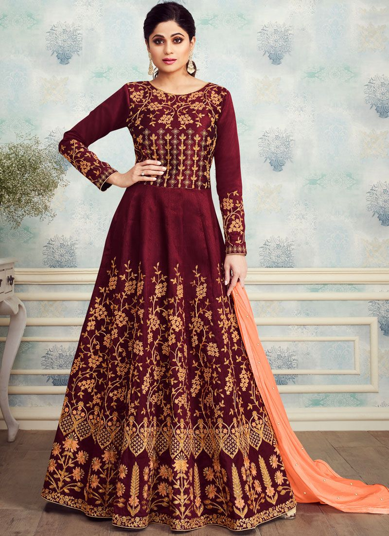 Embroidered Silk Trendy Anarkali Salwar Kameez in Maroon