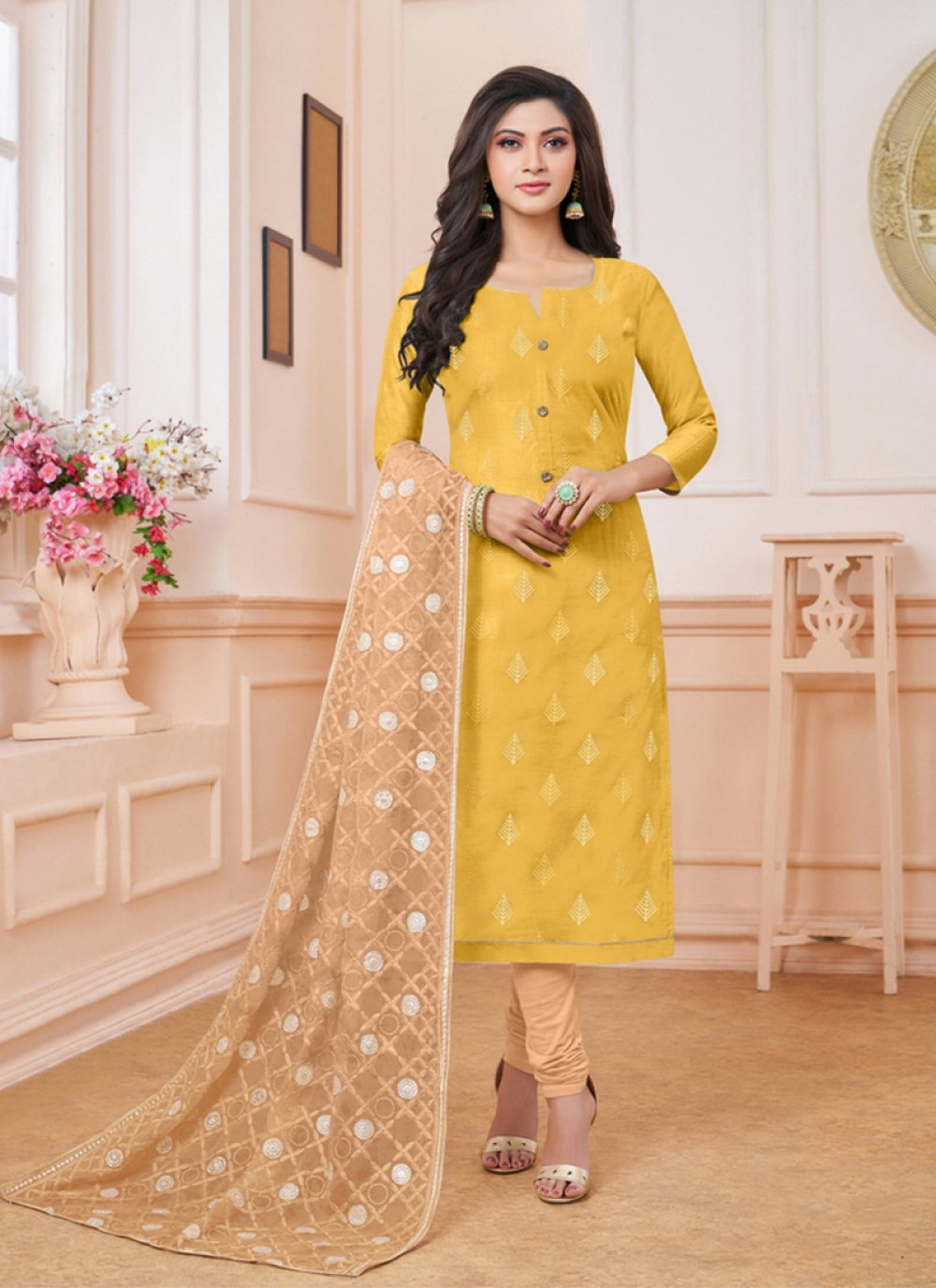 Embroidered Silk Trendy Churidar Salwar Suit